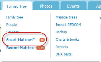 Smart Matches menu