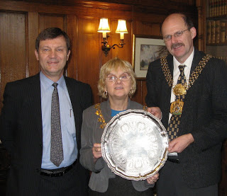 Mike, Lady Mayoress and Lord Mayor of Bradford presentation Isaac Smith silver platter 009 - mathews Web Site