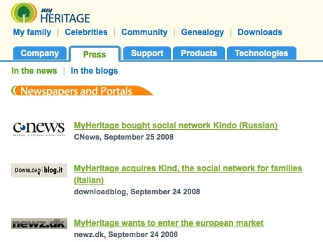 Screenshot Press Page MyHeritage